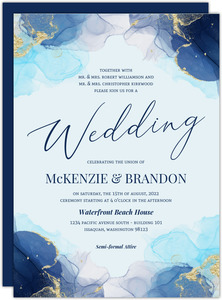 Blue Ink Art Wedding Invitation