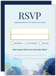 Blue Ink Art Wedding Response Card