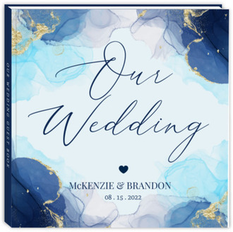 Blue Ink Art Wedding Guest Book