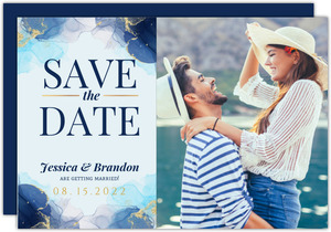 Blue Ink Art Save the Date Card