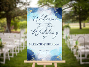 Blue Ink Art Wedding Welcome Poster
