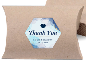Blue Ink Art Wedding Favor Label
