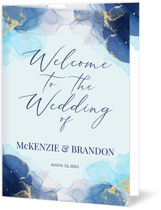 Blue Ink Art Wedding Program