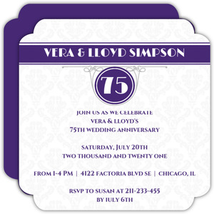 Damask Pattern Diamond 75th Anniversary Invitation