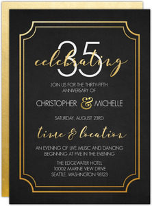 Timeless Faux Gold 35th Wedding Anniversary Invitation