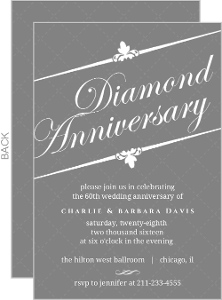 Elegant Gray Diamond 60th Anniversary Invitation