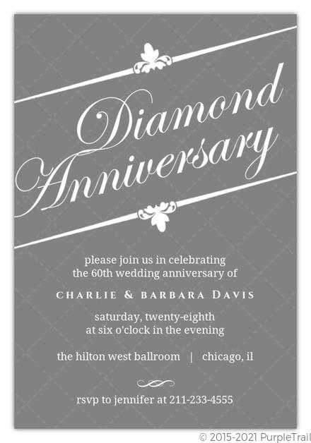 Elegant gray diamond 60th anniversary invitation anniversary elegant gray diamond 60th anniversary invitation stopboris Choice Image