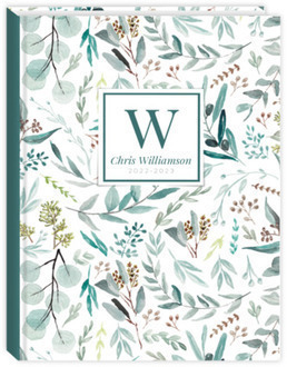 Elegant Watercolor Foliage Pattern Sewn Real Estate Planner