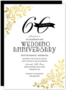 Formal Gold Foil Florals 60th Anniversary Invitation