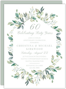 Diamond Greenery Frame 60th Anniversary Invitation