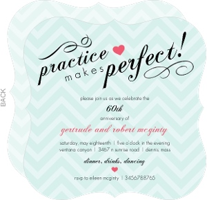 Mint Green Chevron And Heart 60Th Anniversary Invitation