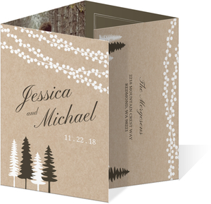 Lights and Rustic Trees Accordion Wedding Invitation