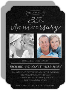 Black Formal Faux Leather 35th Anniversary Invitation