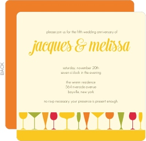 Colorful Cocktail Glasses Fifth Wedding Anniversary Invitation