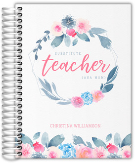 Pink Floral Wreath Teacher Homeschool Planner