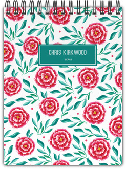 Pink and Green Floral Pattern Notebook