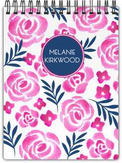Pink Watercolor Floral Notebook