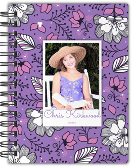 Purple & Pink Floral Photo Custom Notebook