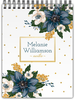 Blue Floral Pattern Custom Notebook