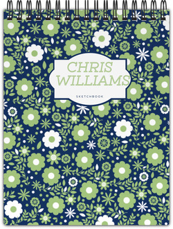Green & White Floral Pattern Notebook