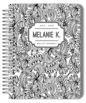Black and White Floral Pattern Custom Bullet Journal