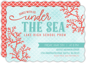 Coral Watercolor Under The Sea Prom Invitation