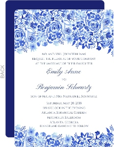 Cascading Handpainted Floral Wedding Invitation