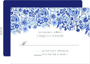 Cascading Handpainted Floral Wedding Response Card