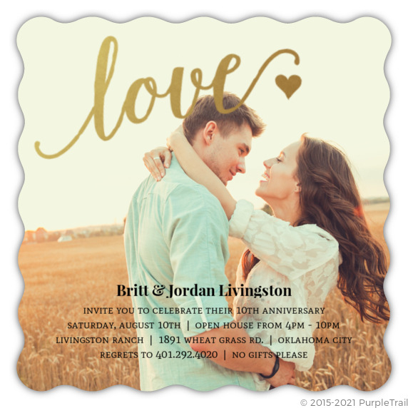 10th Wedding Anniversary Invitations: Faux Foil Love 10Th Anniversary Invitation