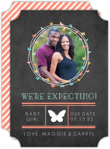 Butterfly Wreath Pregnancy Announcement