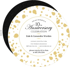 Gold Confetti 10Th Anniversary Invitation