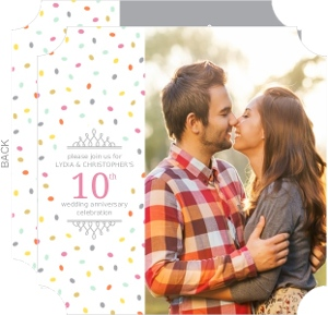 Colorful Confetti 10Th Anniversary Invitation