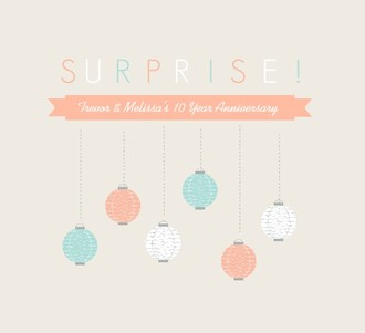 Lantern Surprise Anniversary Party Invitation