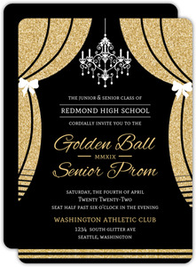 Elegant Faux Gold Glitter Curtain Prom Invitation