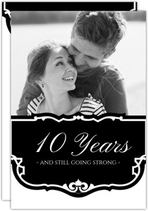 Black and White Vintage  10th Anniversary Party Invitation
