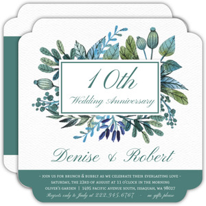 Turquoise Foliage 10th Wedding Anniversary Invitation