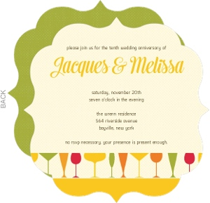 Colorful Cocktail Glasses Wedding Anniversary Invitation