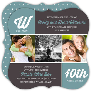 Modern Photo Monogram 10th Anniversary Invitation