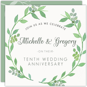 Green Watercolor Foliage Wreath 10th Anniversary Invitation