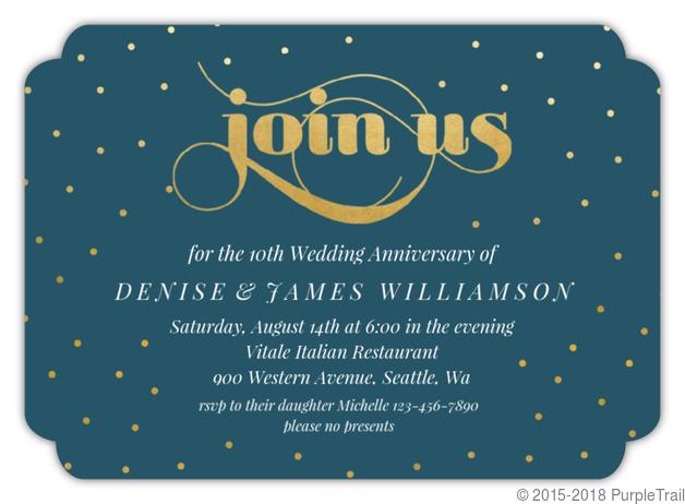 Celebration Dots 10th Anniversary Party Invitation