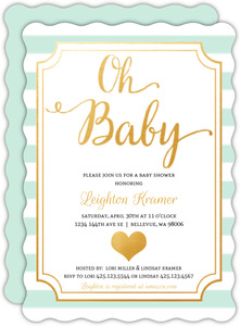 Modern Mint Stripes Baby Shower Invitation