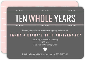 Sweet Heart Ten Year Anniversary Party Invitation