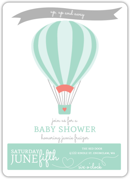 Up Up Air Balloon Baby Shower Invitation Gender Neutral Baby