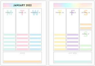 Pastel Stripes 6x8 Weekly Custom Inside Page