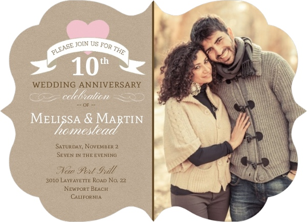 Cheap 50th Wedding Anniversary Invitations: Pink Heart 10Th Wedding Anniversary Invitation