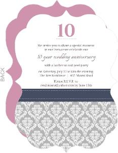 10th anniversary invitations damask border 10th anniversary invitation stopboris Image collections