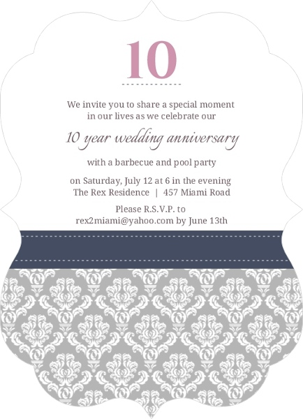 Damask border 10th anniversary invitation 10th anniversary damask border 10th anniversary invitation stopboris Image collections