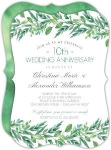 Gorgeous Greenery 10th Anniversary Invitation