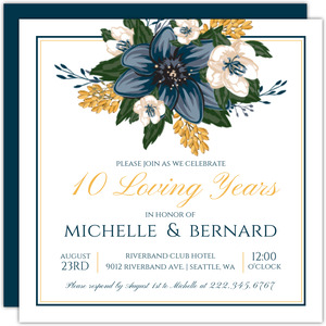 Modern Blue Floral 10th Anniversary Invitation