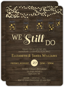 Rustic String Lights 10th Anniversary Invitation